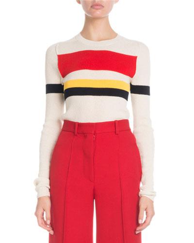 Crewneck Long-Sleeve Multi-Striped Sweater