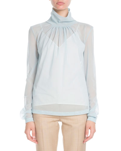 High-Neck Long-Sleeve Sheer Top