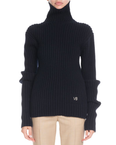 Turtleneck Long-Sleeve Ribbed Wool Sweater