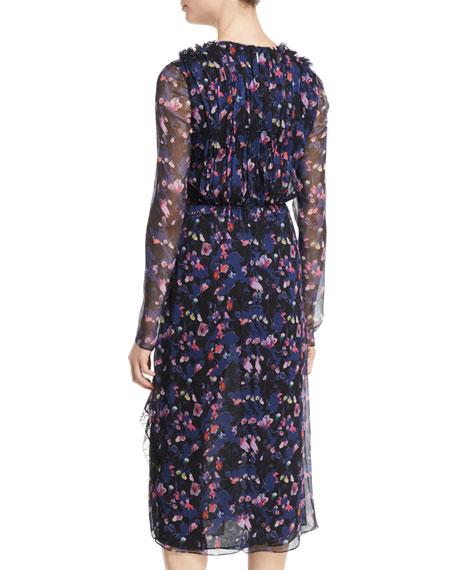 V-Neck Long-Sleeve Floral-Print Crinkle Chiffon Day Dress w/ Lace Trim