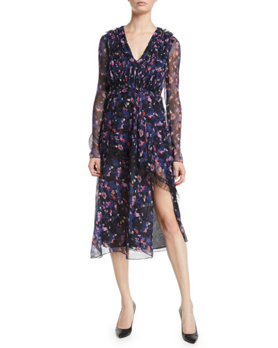 V-Neck Long-Sleeve Floral-Print Crinkle Chiffon Day Dress w/ Lace Trim