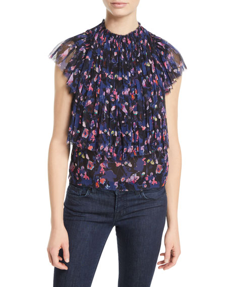 High-Neck Pleated Floral-Print Silk Crinkle Chiffon Top