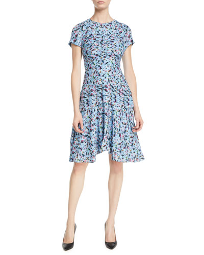 Short-Sleeve Ruched Floral-Print Silk Georgette Day Dress
