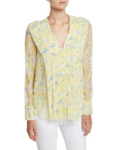 V-Neck Pleated-Front Long-Sleeve Floral-Print Silk Chiffon Blouse