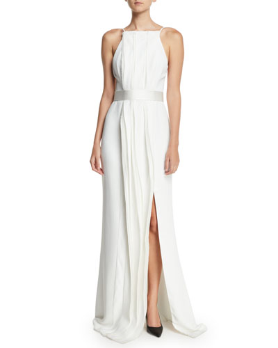 05ace07807 Pleated-Front Sleeveless Open-Back A-Line Stretch-Cady Evening Gown Quick  Look. Jason Wu