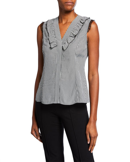 cec11643630a1e Jason Wu Collection V-Neck Sleeveless Gingham Top with Lace   Ruffle Trim