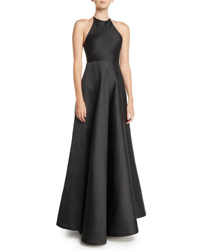 Sleeveless Halter Double-Face Satin Evening Gown