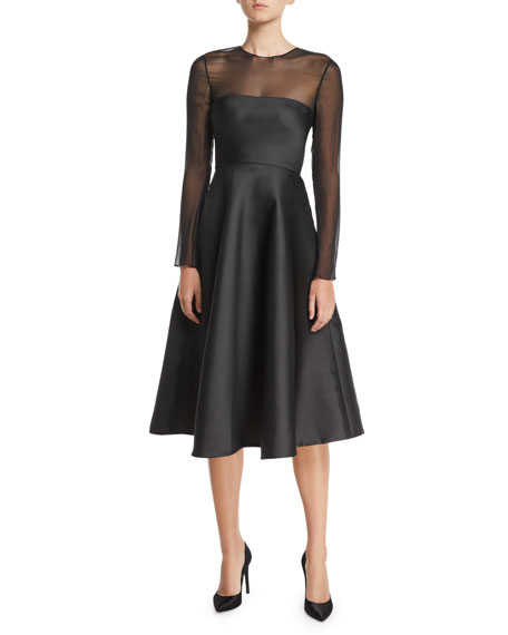 Jason Wu Collection Chiffon-Top Long-Sleeve Fit-and-Flare Midi