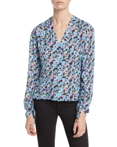 V-Neck Drawstring-Sleeve Floral-Print Silk Blouse