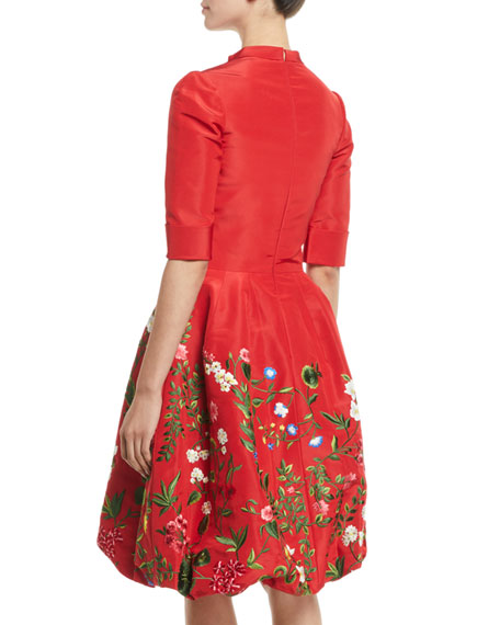 Elbow-Sleeve Botanical-Embroidered Bubble-Hem Day Dress