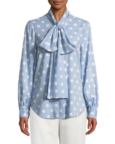 Polka-Dot Tie-Neck Button Front Blouse
