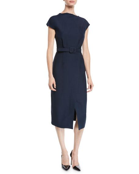 Oscar de la Renta Cap-Sleeve Belted Wrap-Style Wool-Silk