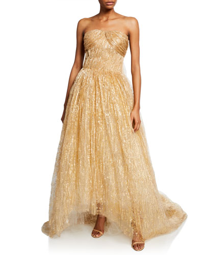 Strapless Draped Tulle Gown