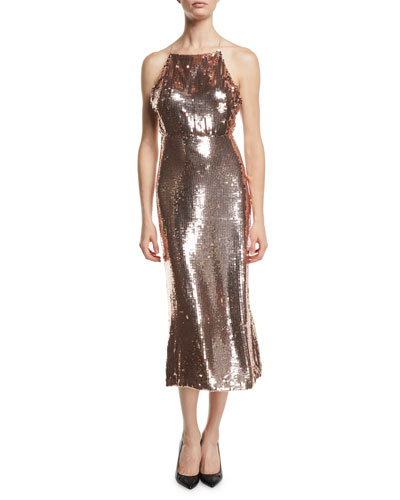 Square-Neck Sleeveless Sequined Apron Cocktail Dress