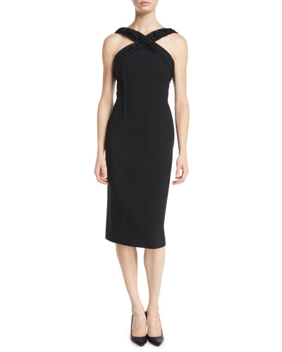 Ruched-Trim Sleeveless Compact Crepe Sheath Day Dress