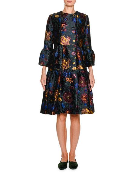 DOUBLE J Dragon-Flower 3/4-Sleeve Bouncy Coat in Black Pattern