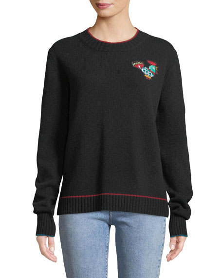 DOUBLE J Rooster Patch Crewneck Sweater in Black
