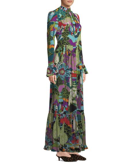 8e9bce815c5 Double J Dragon-Flow Landscape-Print Long-Sleeve A-Line Maxi Dress