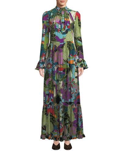 Dragon-Flow Landscape-Print Long-Sleeve A-Line Maxi Dress