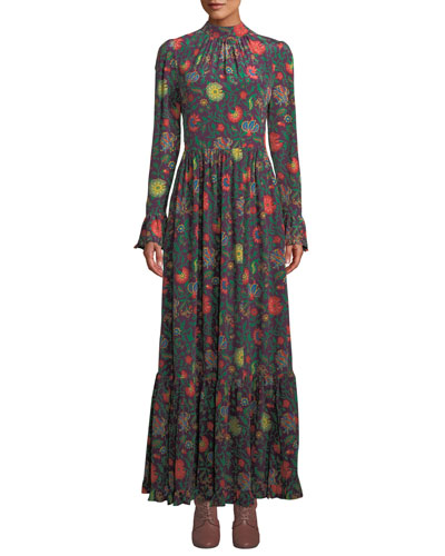 Paesaggio Long-Sleeve Floral-Print A-Line Long Dress