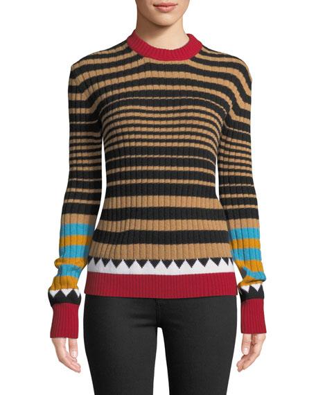Camello Multi-Striped Crewneck Wool Sweater