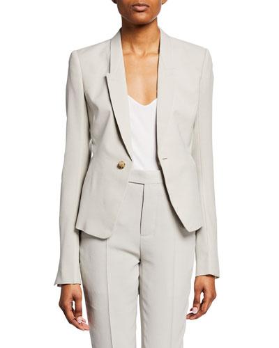 Nat Wool Crepe Blazer Jacket