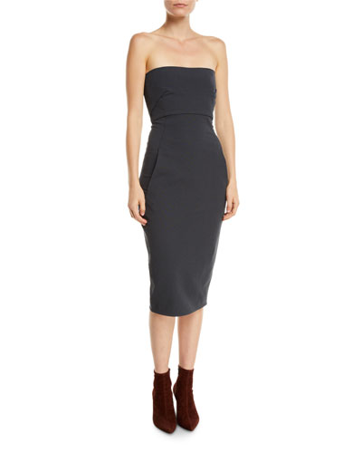 Strapless Grosgrain Body-Con Midi Dress