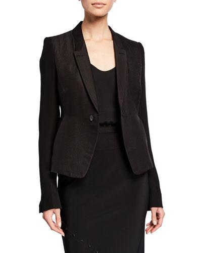Georgette-Sleeve Textured Blazer
