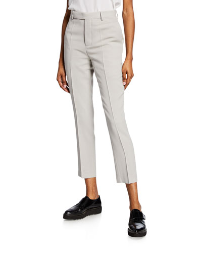 Oyster Wool Crepe Straight-Leg Cropped Pants