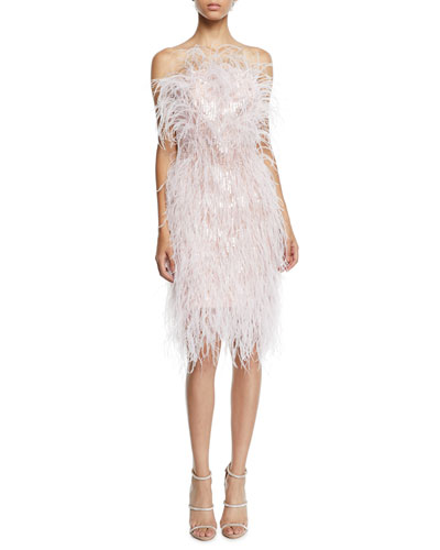 Feather & Crystal Fringe Strapless Cocktail Dress