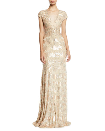 Sequined and Crystal Georgette V-Neck Gown
