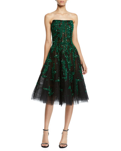 Sequin & Crystal Embellished Strapless Fit & Flare Cocktail Dress