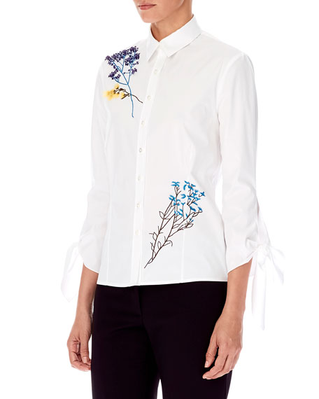4326871128bba1 Carolina Herrera 3/4-Sleeve Floral-Embroidered Button-Front Cotton Shirt