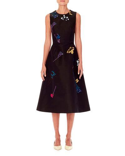 Sleeveless Floral-Embroidered A-Line Knee-Length Dress
