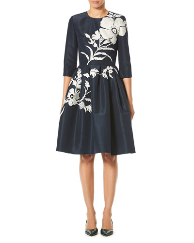 Elbow-Sleeve Floral-Embroidered Fit-and-Flare Cocktail Dress