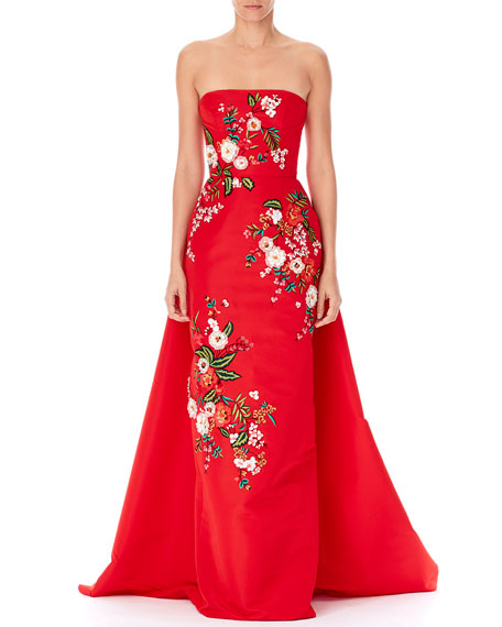 Carolina Herrera STRAPLESS THREADWORK-EMBROIDERED GOWN, RED