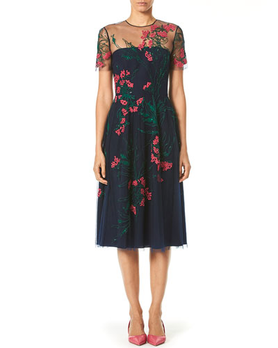 Embroidered Knee-Length Illusion Dress
