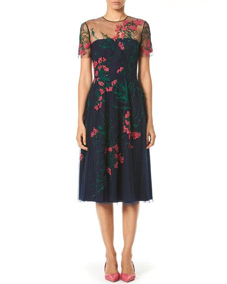 Carolina Herrera Embroidered Knee-Length Illusion Dress