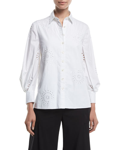 Eyelet Embroidered Poplin Button-Front Shirt