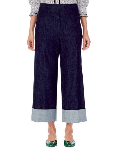Carolina Herrera Wide-Leg Cropped Denim Pants