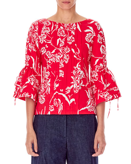 Carolina Herrera FLUTTER-SLEEVE BATEAU-NECK PLEATED FLORAL-PRINT BLOUSE