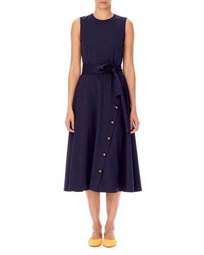 Sleeveless Tie Waist A Line Midi Dress Quick Look Carolina Herrera