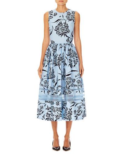 Sleeveless Floral-Print A-Line Tea-Length Dress w/ Stripe Detail