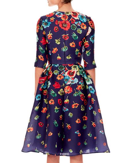 Floral-Print Elbow-Sleeve A-Line Dress