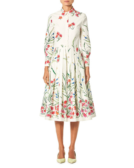 Carolina Herrera BUTTON-FRONT LONG-SLEEVE FLORAL-PRINT A-LINE SHIRTDRESS