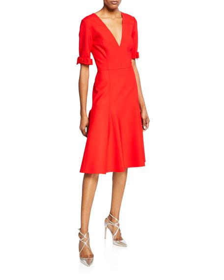 1/2-Bow Sleeve V-Neck Midi Dress