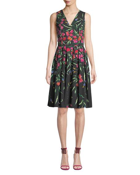 Carolina Herrera Sleeveless V-Neck Floral Pleated Dress