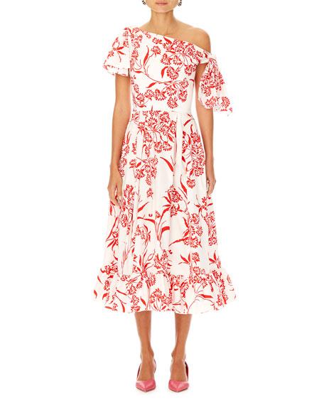 Carolina Herrera Asymmetric Floral-Print Cotton Dress w/ Knot