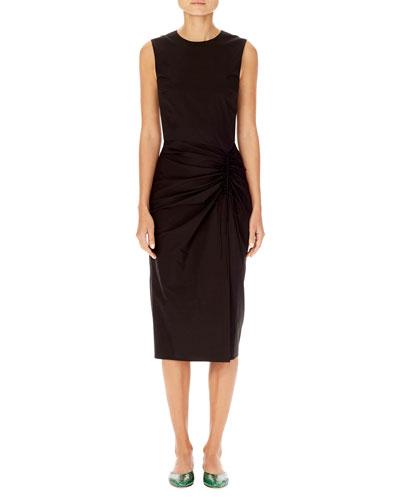 Asymmetric Ruching Sleeveless Sheath Dress Quick Look Carolina Herrera