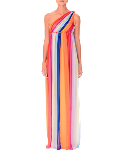 One-Shoulder Multicolor Tulle Evening Gown w/ Train